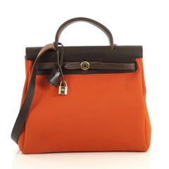 Hermes Herbag Vibrato and Leather PM Orange 438377