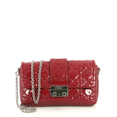 Christian Dior New Lock Pouch Cannage Quilt Patent Mini Red 438457