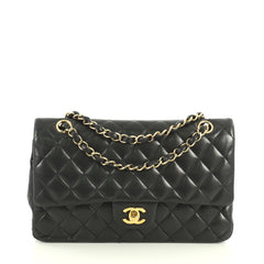 Chanel Classic Double Flap Bag Quilted Lambskin Medium Black 4385501