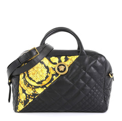 Versace Medusa Convertible Satchel Quilted Printed Leather Medium Black 438681