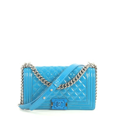 Chanel Boy Flap Bag Quilted Plexiglass Patent Old Medium Blue 438871