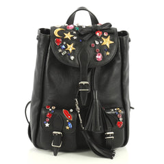 Saint Laurent Festival Backpack Embellished Leather Small Black 438933