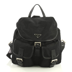 Prada Double Front Pocket Backpack Tessuto Medium Black 439062