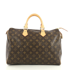 Louis Vuitton Speedy Handbag Monogram Canvas 35 Brown 439091