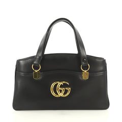 Gucci Arli Top Handle Bag Leather Large Black 439221