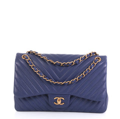 Chanel Classic Double Flap Bag Chevron Lambskin Jumbo Blue 4393017