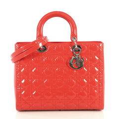 Christian Dior Lady Dior Handbag Cannage Quilt Patent Large Red 4393021