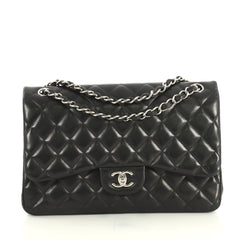 Chanel Classic Double Flap Bag Quilted Lambskin Jumbo Black 4393023