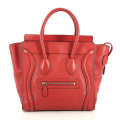 Celine Luggage Handbag Grainy Leather Micro Red 439302