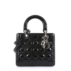 Christian Dior Lady Dior Handbag Cannage Quilt Patent Medium Black 439383