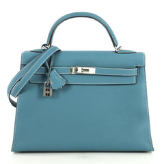 Hermes Kelly Handbag Blue Togo with Palladium Hardware 32 Blue 439561