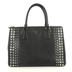 Prada Galleria Double Zip Tote Studded Saffiano Leather Medium Black 4396401