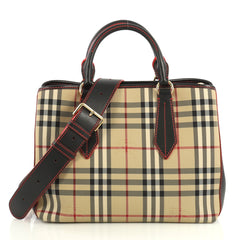 Burberry Ballingdon Tote Horseferry Check Canvas and Leather Medium Black 439661
