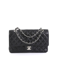 Chanel Vintage Classic Double Flap Bag Quilted Caviar Medium Black 439...