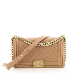 Chanel Boy Flap Bag Quilted Lambskin Old Medium Brown 439672