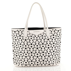 Givenchy Antigona Shopper Laser Cut Leather Small White 439836