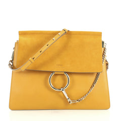 Chloe Faye Shoulder Bag Leather and Suede Medium Yellow 439941