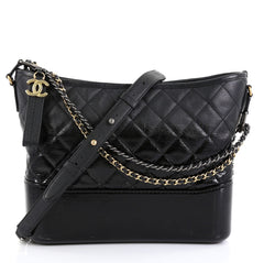 Chanel Gabrielle Hobo Quilted Goatskin and Patent Medium Black 440101