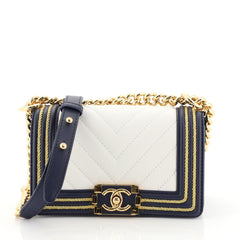 Chanel Boy Flap Bag Chevron Calfskin with Braided Detail Small White 440111