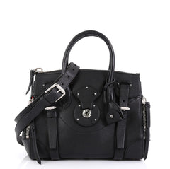 Ralph Lauren Collection Soft Ricky Zip Handbag Leather 27 Black 44013105