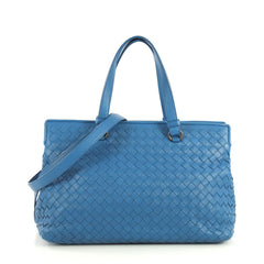 Bottega Veneta 2-Pocket Convertible Tote Intrecciato Nappa Medium Blue 4401315