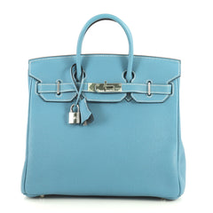 Hermes HAC Birkin Bag Blue Togo with Palladium Hardware 28 Blue 4401327