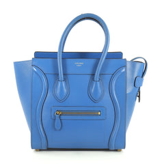 Celine Luggage Handbag Smooth Leather Micro Blue 4401333