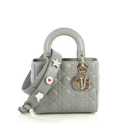 Christian Dior My Lady Dior Bag Cannage Quilt Lambskin Gray 4401337