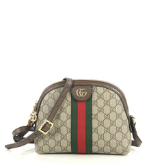 Gucci Ophidia Dome Shoulder Bag GG Coated Canvas Small Brown 4401339