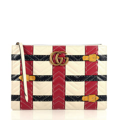 Gucci GG Marmont Pouch Trompe L'Oeil Matelasse Leather Neutral 4401340