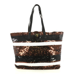 Prada Open Tote Sequins Large Black 4401354