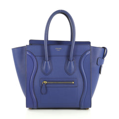 Celine Luggage Handbag Grainy Leather Micro Blue 4401364