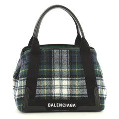 Balenciaga Navy Cabas Wool Small Green 4401366