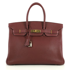 Hermes Birkin Handbag Red Fjord with Gold Hardware 35 Red 4401371