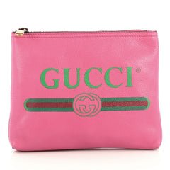 Gucci Zipped Pouch Printed Leather Small Pink 4401375