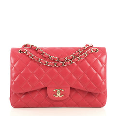 Chanel Classic Double Flap Bag Quilted Lambskin Jumbo Pink 4401380