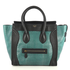 Celine Bicolor Luggage Handbag Python and Leather Mini Blue 4401382