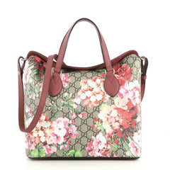 Gucci Convertible Folded Tote Blooms Print GG Coated Canvas Medium Brown 4401384