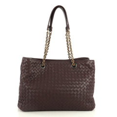 Bottega Veneta Double Chain Tote Intrecciato Nappa Medium Purple 4401392