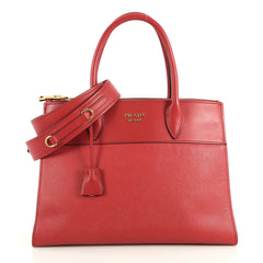 Prada Paradigme Bag Saffiano Leather with City Calfskin Medium Red 4401397