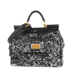 Dolce & Gabbana Soft Miss Sicily Bag Sequins Large Black 4401399
