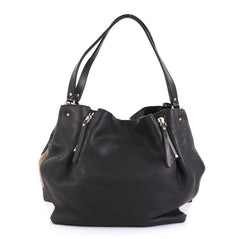 Burberry Maidstone Tote Leather and House Check Canvas Medium Black 440161