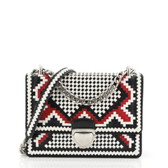 Prada Push Lock Flap Chain Bag Madras Woven Leather Small