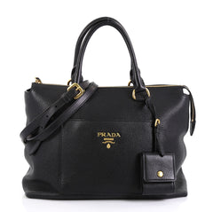 Prada Pocket Convertible Zip Satchel Vitello Daino Medium Black 4402110