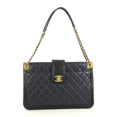 4a09aaedb Chanel Elegant CC Tote Quilted Lambskin Large Black 4402111