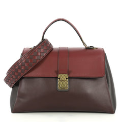Bottega Veneta Piazza Top Handle Bag Leather with Intrecciato Detail Medium Red 440215