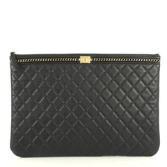 Chanel Boy O Case Clutch Quilted Lambskin with Chain Detail Large Blac...