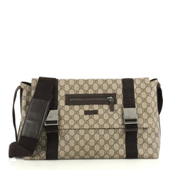 Gucci Messenger Buckle Bag GG Coated Canvas Large Brown 4405916