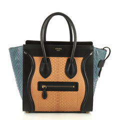Celine Tricolor Luggage Handbag Python and Leather Micro Black 440592