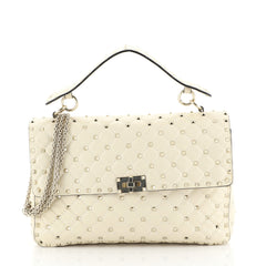 Valentino Rockstud Spike Flap Bag Quilted Leather Large Neutral 440595...